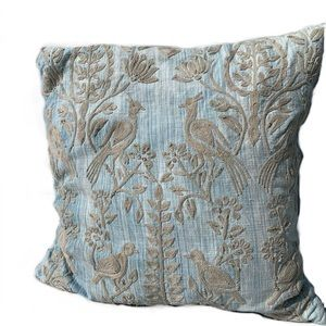 COPY - Pottery Barn Blue & Beige Embroidered Pill…